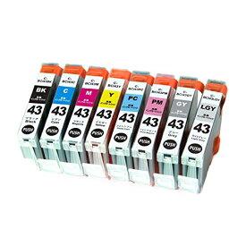BCI-43/8MP ×1 / 8色セット CANON (キャノン) 互換インク 全色染料 【対応インク型番】 BCI-43BK BCI-43C BCI-43M BCI-43Y BCI-43PC BCI-43PM BCI-43GY BCI-43LGY