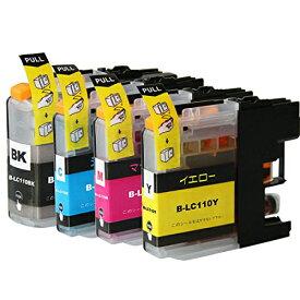 LC110-4PK ×1 / 4色セット brother (ブラザー) 互換インク BKのみ顔料他は染料 【対応インク型番】 LC110BK LC110C LC110M LC110Y