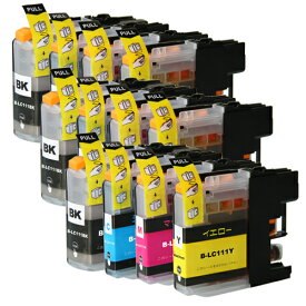 LC111-4PK ×3 / 4色セット brother (ブラザー) 互換インク BKのみ顔料他は染料 【対応インク型番】 LC111BK LC111C LC111M LC111Y
