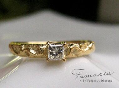 【再販】K18 ゴールド ファンシー プリンセス ダイヤモンド リング 「 Fumaria - フマーリア - 」【送料無料】18K 18金 YG WG PG イエローゴールド ホワイトゴールド ピンクゴールド プリンセスカット ギフト プレゼント 532P17Sep16