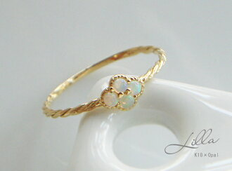 "Delicate Milky Opal ring in gold K18 ""Lilla - lillà -' 18 K 18 k YG WG PG yellow gold white gold 18kt pink gold mill cable design gift gift"
