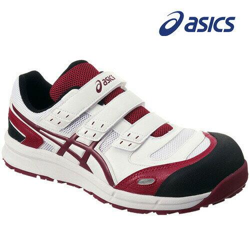アシックス 安全靴 ウィンジョブ CP102 ホワイト×バーガンディ FCP102-0126