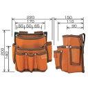 タジマツール/TJM PM-DE2K/B 電工腰袋 2段/大・工具差し付(ブラウン/バイオレットブルー)