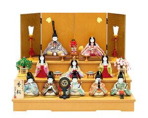 雛人形 真多呂 木目込み 高級 収納 コンパクト 古今段飾り香桜(かおう)10人揃 三段飾り