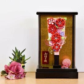 羽子板 初正月 コンパクト 7号 赤 アクリルケース 花飾り おしゃれ かわいい 羽子板飾り 手作り ちりめん