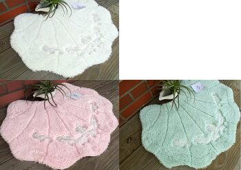 送料無料newプレデンシャルなグレースシェル『トイレマット』おしゃれ可愛い貝の形(ToiletMatSet)北欧ライトグリーンホワイトピンク