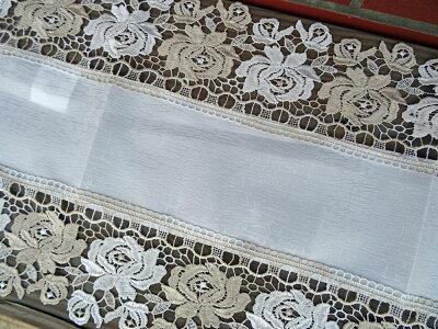 【40x90cm】レースが綺麗『テーブルセンター』真っ白で光沢の有る地模様が、おしゃれで可愛いギューピュールレース使用標準タイプ【HLS_DU】