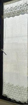 送料無料ローズナチュラルホワイトロング『パネルカーテン』細窓勝手口コットンカフェカーテン2枚3枚とつなげは、間仕切りのれん。オフホワイトのおしゃれでお手頃価格