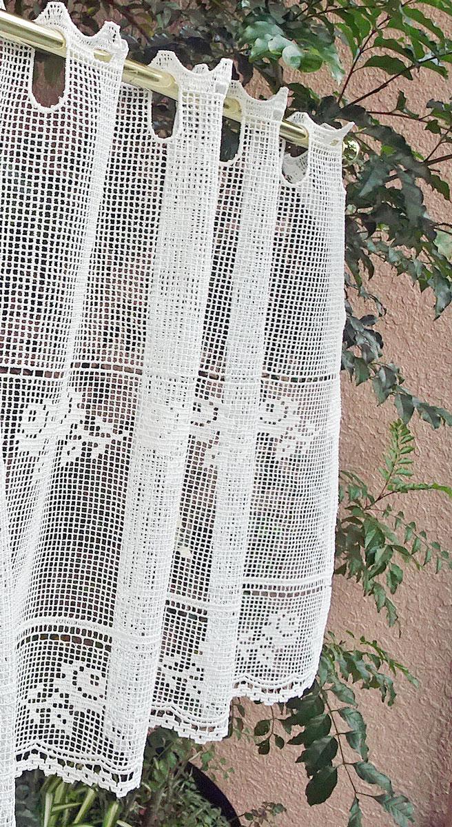 【細幅】窓から風を通せる フィレ&タスカニーレース『カフェカーテン』【縦45cm】送料無料★コースターサイズにカットしてモチーフも作れる!揃いのアップリケ作ってトータルコーディもお勧め 小窓用 ショート