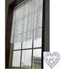 あす楽★リバイバル120幅【縦60cm】 真っ白ギュピールお花がいっぱい北欧 『カフェカーテン』セミロング★小窓用