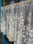 【45cm★送料無料】コットン刺繍、柔らか織りチュールが、自慢です。カフェカーテンナチュラル可愛い〜『カフェカーテン』アイボリー北欧草花柄
