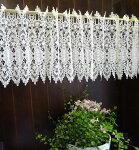 送料無料【約120x30cm】真っ白『カフェカーテン』ヨーロッパの窓を思わすギュピュールレース綺麗ですベリーショート小窓用【HLS_DU】