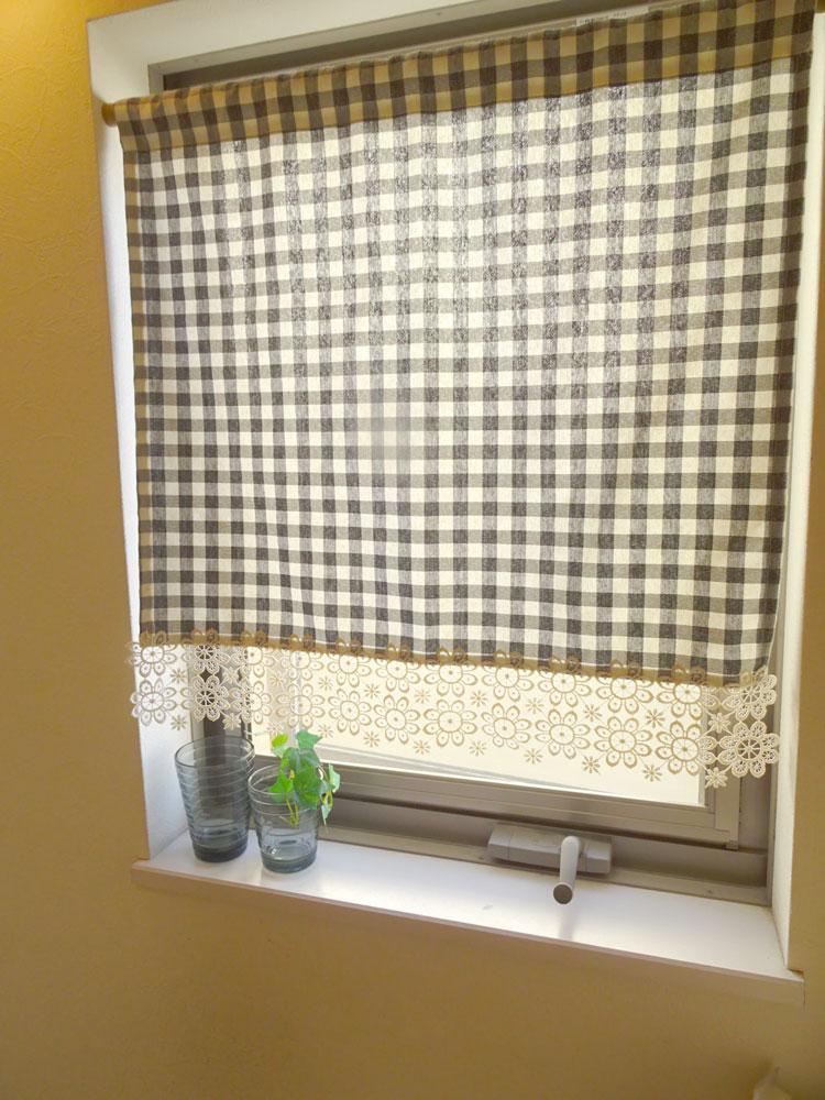 NEW人気のナチュラルなギンガムチェック 縦60cm 細窓 小窓用 1枚でも【送料無料】『オーダーカーテン生地のカフェカーテン』待隠し出来ます ベージュお花レース付き おしゃれ 北欧【HLS_DU】セミロング