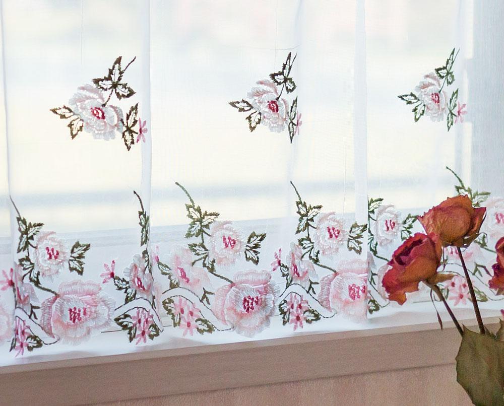 2018年ラッキ-カラーピンクの『カフェカーテン』 あす楽☆【送料無料】【縦45cm】濃淡刺繍が優しい横長窓にもお勧め 半透明のボイル生地との相性が、とても良いです。ショート YM