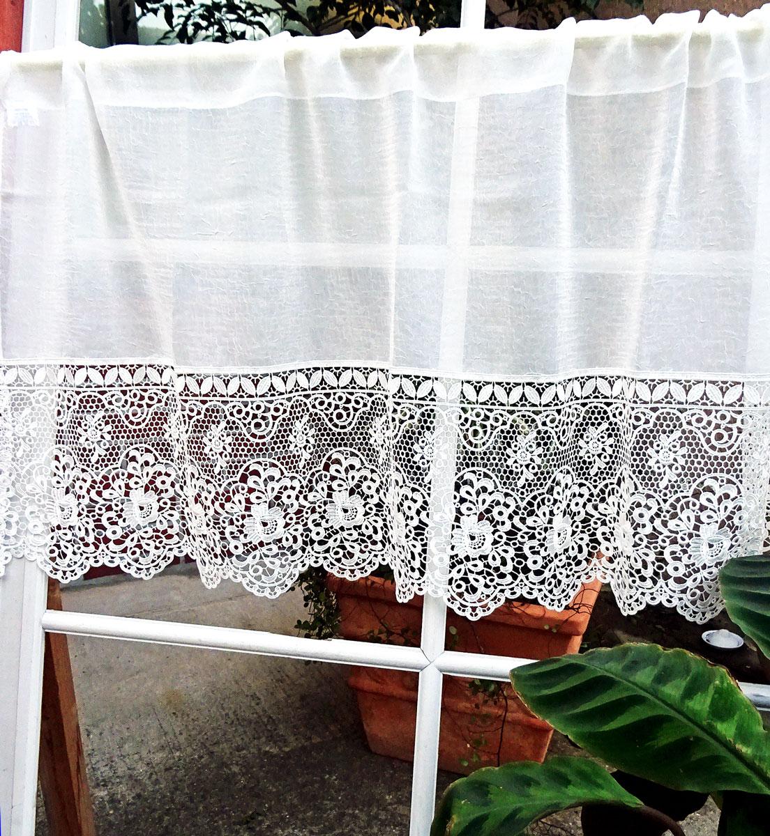 あす楽★【送料無料】上質ライフスタイルな【縦45cm】『カフェカーテン』白なレースに半透明生地  ショート 小窓が、綺麗だと建物が、おしゃれに見えます。