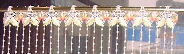 【送料無料】【縦15cm】 ★ フランス製 とっても短い 今年人気のイチゴのマクラメ 『カフェカーテン』 SSSベリーショートサイズ★【smtb-k】【kb】yo【RCP】小窓用