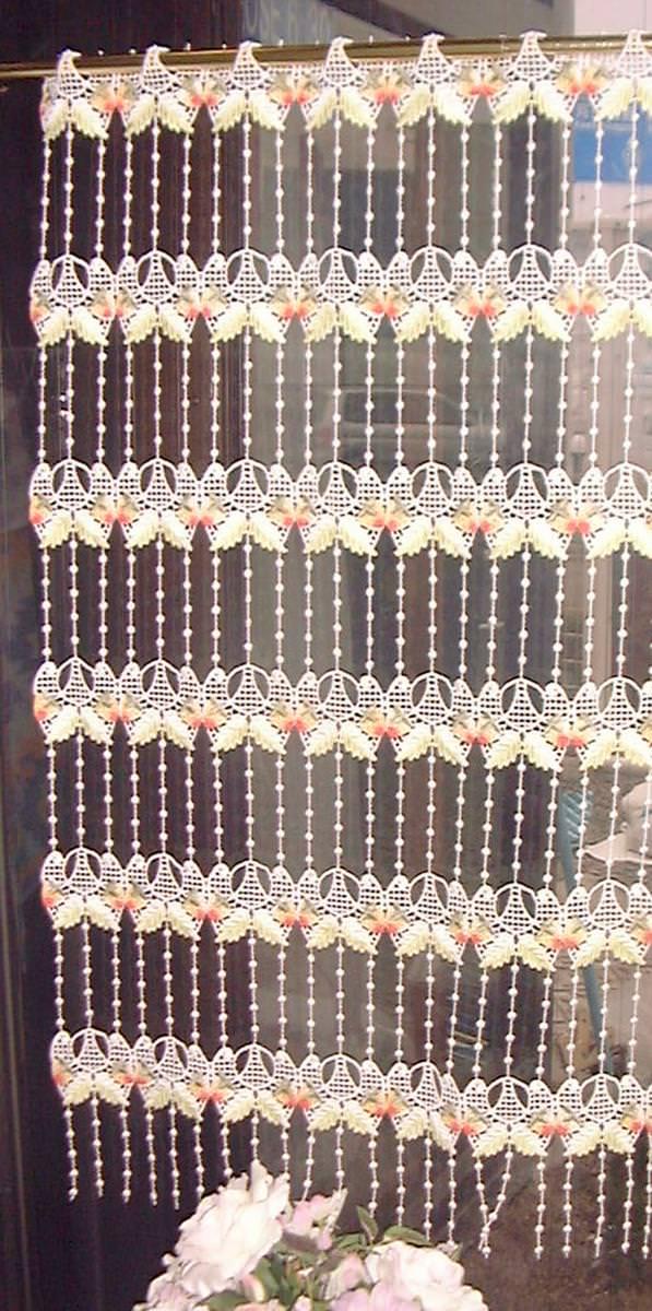 クーポン有り 【送料無料】【縦90cm】 フランス製 イチゴのマクラメ 『カフェカーテン』 ロング 小窓用