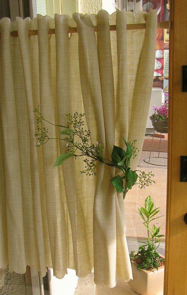 あす楽★無地な【縦70cm】260cm広幅 アジアン『カフェカーテン』しなやか素材と微妙な色合いに拘りました。当店オリジナル シャビーな空間にもお勧め 無地なリネンベージュ セミロングサイズ【RCP】小窓用【HLS_DU】