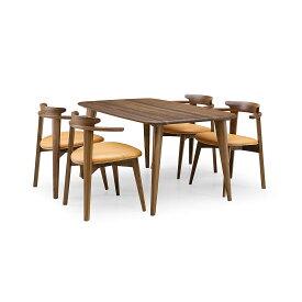 35%OFF [ダイニング5点] GREEN home style YUZU DINING TABLE B140 + CHAIR D (グリーン ホームスタイル ユズ ダイニングテーブル B140 チェア D) ダイニングセット 岩倉 榮利 (テーブル幅140cm, ウォールナット材)【同梱不可】
