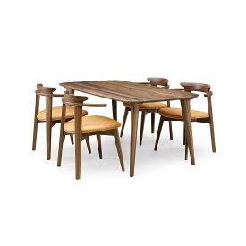 35%OFF [ダイニング5点] GREEN home style YUZU DINING TABLE B160 + CHAIR D (グリーン ホームスタイル ユズ ダイニングテーブル B160 チェア D) ダイニングセット 岩倉 榮利 (テーブル幅160cm, ウォールナット材)【同梱不可】