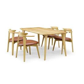 34%OFF [ダイニング5点セット] GREEN home style YUZU DINING TABLE B160 + CHAIR D (グリーン ホームスタイル ユズ ダイニングテーブル B160 チェア D) Designed by 岩倉 榮利 (テーブル幅160cm, オーク材)【同梱不可】