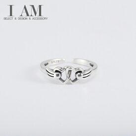 ダブル ハート リング 指輪 シルバー925 フリーサイズ レディース 女性 おしゃれ かわいい ファッション デザイン ジュエリー アクセサリー