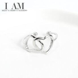 ダブル ハート ロック リング 指輪 シルバー925 フリーサイズ レディース 女性 おしゃれ かわいい ファッション デザイン ジュエリー アクセサリー