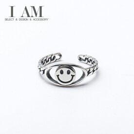 スマイル サークル リング 指輪 シルバー925 フリーサイズ レディース 女性 おしゃれ かわいい ファッション デザイン ジュエリー アクセサリー