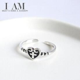 ハート クロス ブラック リング 指輪 シルバー925 フリーサイズ レディース 女性 おしゃれ かわいい ファッション デザイン ジュエリー アクセサリー