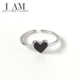 ブラック ハート リング 指輪 シルバー925 フリーサイズ レディース 女性 おしゃれ かわいい ファッション デザイン ジュエリー アクセサリー