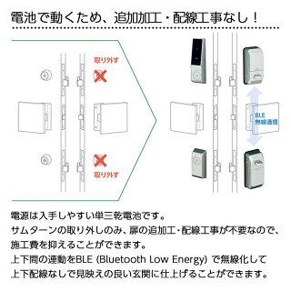 MIWA 電池式ハンズフリー電動サムターンユニット 自動施錠 2ロック DTRST-D02CDA シルバー