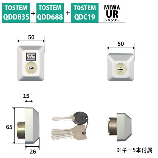 TOSTEM(トステム) リクシル 交換用URシリンダー D5GZ1902 グレー 2個同一 MCY-468