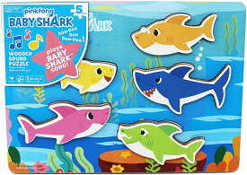 ベイビーシャーク パズル 木製 音楽が流れる 【並行輸入品】【ラッピング不可】Cardinal Industries 6053347 Pinkfong Baby Shark Chunky Wooden Sound Puzzle - Plays The Baby Shark Song, Multicolor