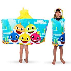 """ベイビーシャーク プールタオル 24×50サイズ 【並行輸入品】【ラッピング不可】Franco Kids Bath and Beach Soft Cotton Terry Hooded Towel Wrap, 24"""" x 50"""", Baby Shark"""