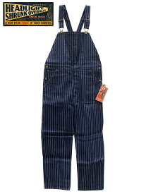 "HEAD LIGHT(ヘッドライト) ""8oz. SPECIAL WOVEN STRIPE DENIM LOW BACK OVERALLS "" NON-WASH Lot.HD41631-128)NAVY"