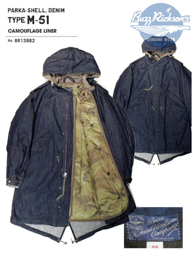 BUZZ RICKSON'S(バズリクソンズ)PARKA-SHELL,DENIM TYPE-51 COMOUFLAGE LINER/BR13882-421)A/NAVY Made in Japan