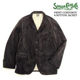 プリントコーディロイ4ボタンジャケット・Lot.SC13208-119)BLACK/SUGAR_CANE(シュガーケーン)