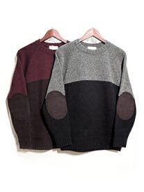 SOGLIA(ソリア)SOGLIA (ソリア) LANDNOAH セーター エルボーパッチセーター グレー×ブラック / ワイン×ブラウン MADE.IN.JAPAN