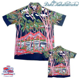 "Duke Kahanamoku(デューク・カハナモク)/ Special Edition ""COCONUT PALMS&DIAMOND HEAD"" Hawaiian Shirt (NAVY) Lot.DK36202 SUNSURF(サンサーフ)"