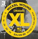 【メール便・送料無料・代引不可】D'Addario/ダダリオ EXL125-3D エレキギター弦 3セットパック×1パック(計3セット)【smtb-TK】
