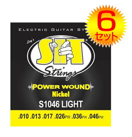【ポイント2倍】【メール便・送料無料・代引不可】【6セット】SIT S1046 [10-46] POWER WOUND エレキギター弦【smtb-TK】