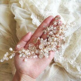 ヘッドドレス 小枝アクセサリー フラワー ヘッドピース コーム シルバー ウェディング 結婚式