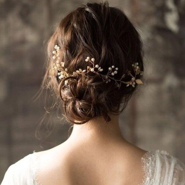 ヘッドドレス ゴールド リーフ ヘッドピース 小枝アクセサリー ウェディング ブライダル 結婚式 カチューシャ リボン ウエディング
