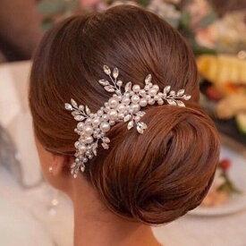 <再入荷> 小枝アクセサリー パール ビジューボンネ コーム ヘッドドレス ヘッドピース ヘアアクセサリー 結婚式 ウェディング ブライダル お呼ばれ