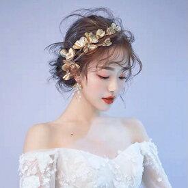 ヘッドドレス 花 ゴールド フラワー 透かし アンティーク ヘッドピース ヘアアクセサリー 結婚式 ウェディング ブライダル コーム 和装 髪飾り 花冠