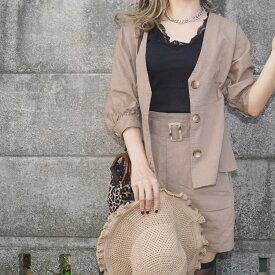 Linen Tops&Belted Pants 2P SET UP(beige) リネン 麻 セットアップ ショーツ ブラウス ベルト付き 伸縮 夏 summer 通気性 ベージュ ブラウン brown ADG A.D.G エーディージー