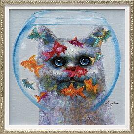ユーパワー オイルペイントアート キャットアンドフィッシュ OP-070124996953272457/ オイルペイント ハンドペイント アート モダン 絵画 猫 人気 かわいい
