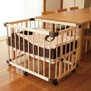 グランドール ファルスカ すのこ床板のミニジョイントベッドネオ ナチュラル746051 【90サイズ】 /ベビーベッド 組立簡単 木製 プレイペン サークルにもなる キッズソファにもなる ミニジョ