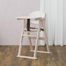 カトージ おしゃれな木製ハイチェア CENA セナ ホワイト(22614) ステップ切り替え / ベビーチェア テーブル付 折りたたみ 7ヵ月から YKK製股ベルト付 回せるテーブル 4段階に高さ変更可能 全6色 katoji