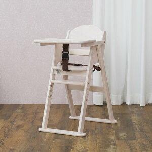 カトージ おしゃれな木製ハイチェア CENA セナ ホワイト(22614) ステップ切り替え / ベビーチェア テーブル付 折りたたみ 7ヵ月から YKK製股ベルト付 回せるテーブル 4段階に高さ変